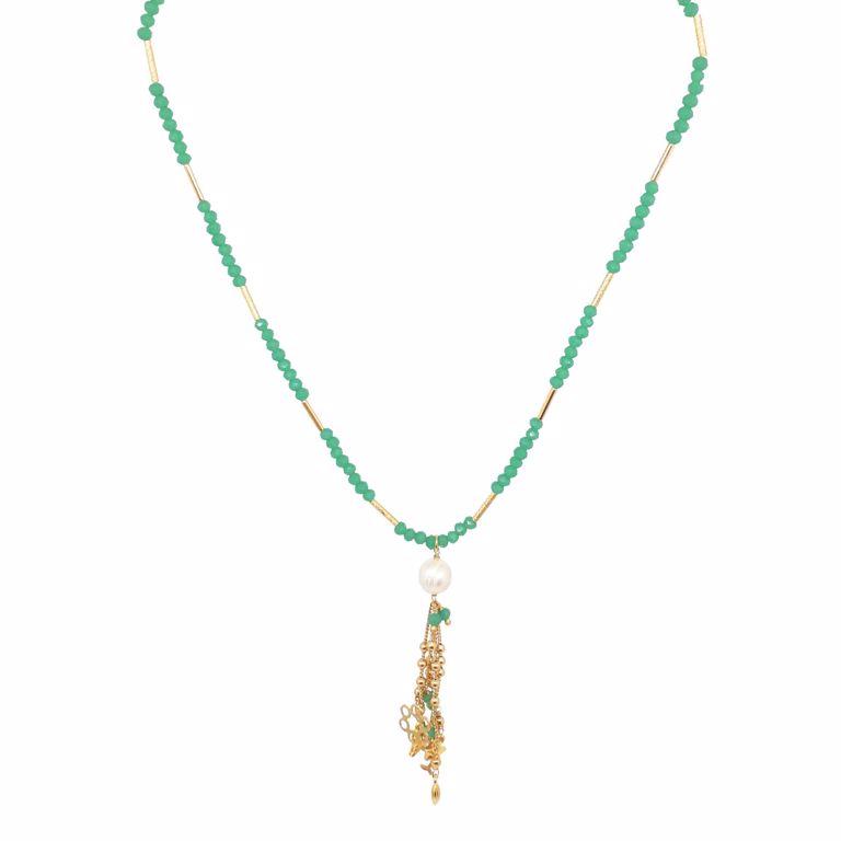 Colar Discos Cristais Búlgaros Verde com Pingente de Pérola e Penduricalhos
