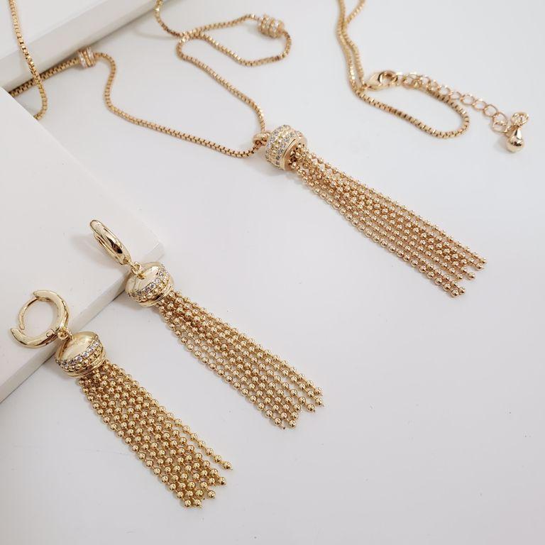 Conjunto Colar e Brinco Franja Bolinhas Diamantadas Zircônia Banho Ouro 18k Semijoia