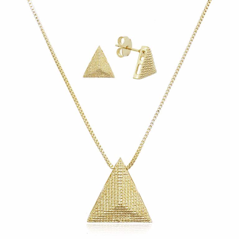 Conjunto Colar e Brincos Triângulo Liso no Banho de Ouro 18k Semijoia