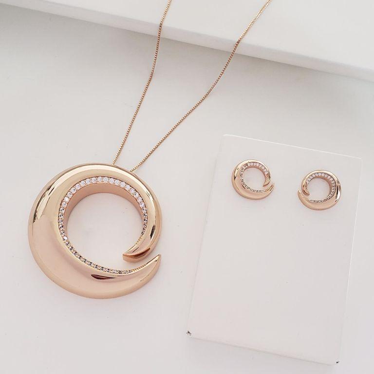 Conjunto Corrente Veneziana com Espiral Grande Zircônia e Brinco Botão no Banho Ouro 18k Semijoia