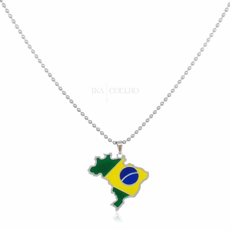 Corrente Bolinhas Aço Pingente Mapa com Bandeira do Brasil