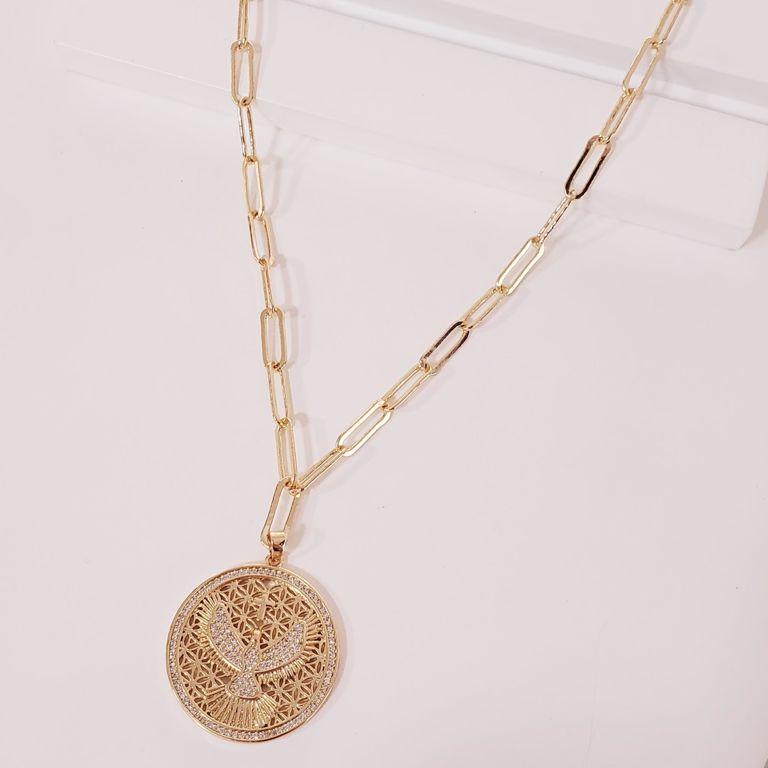 Corrente Cartier com Medalha Divino Zircônia no Banho Ouro 18k Semijoia