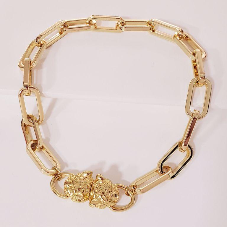 Corrente Curta Cartier Grande com Fecho de Cabeça Leopardo no Banho Ouro 18k Semijoia