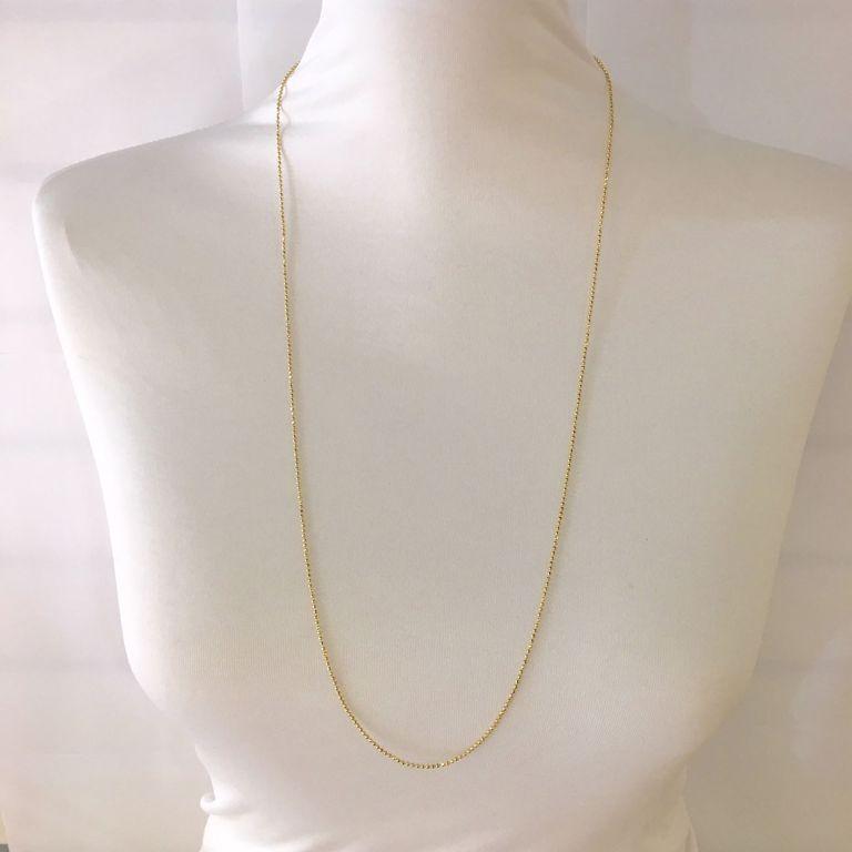 Corrente Longa Bolinhas Diamantadas Banho de Ouro 18k Semijoia