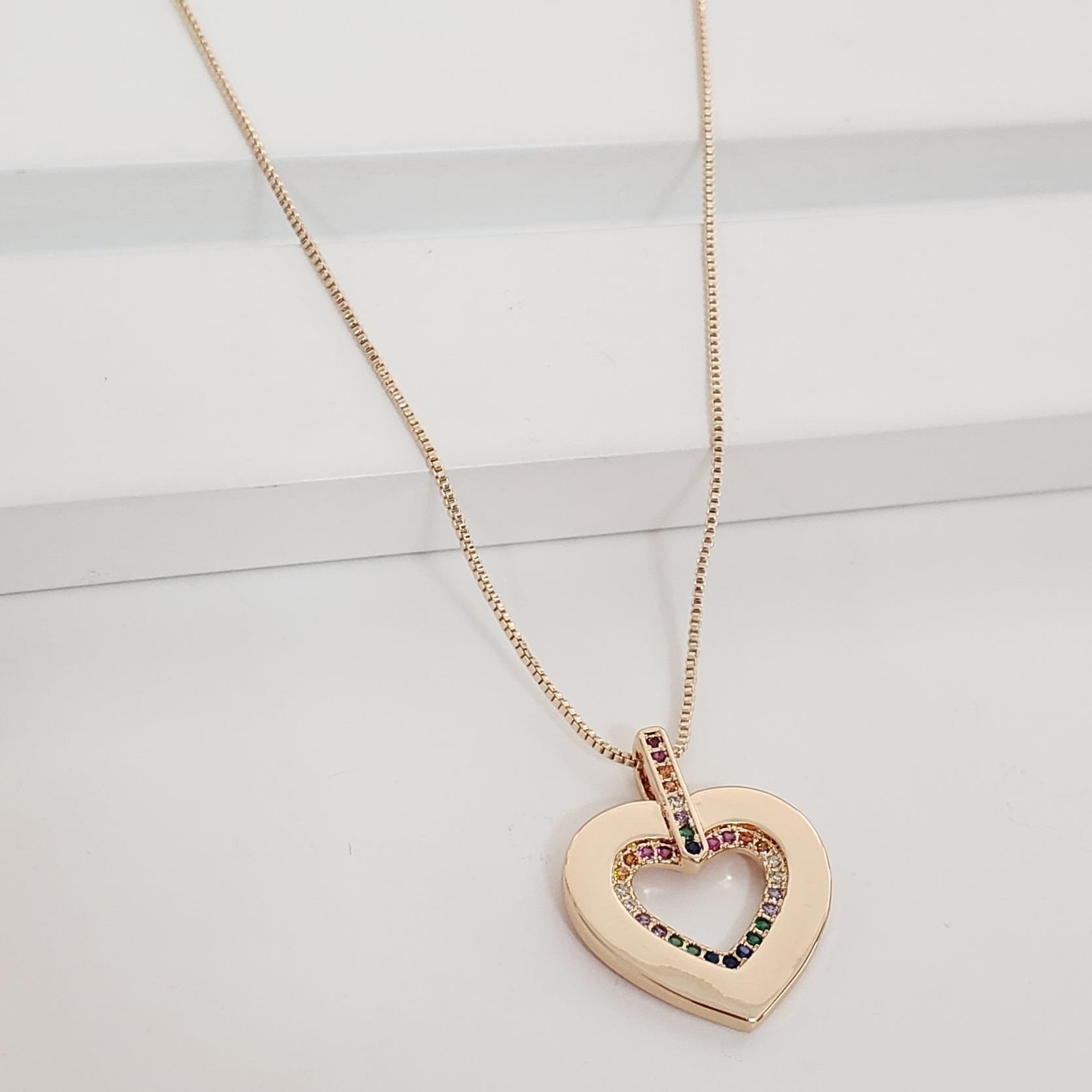 Corrente Veneziana com Coração Vazado Zircônia Colorida no Banho Ouro 18k Semijoia