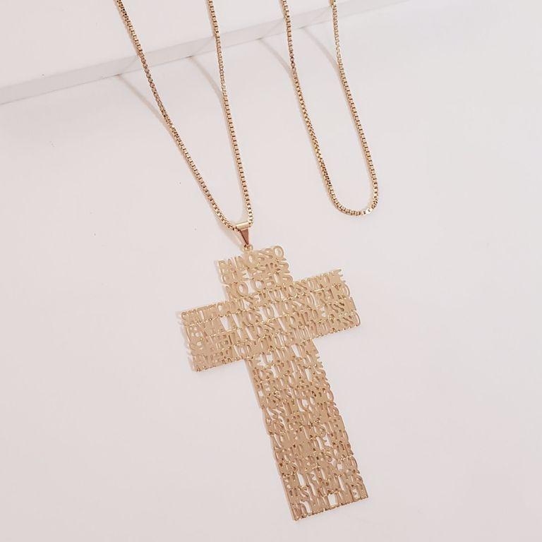 Corrente Veneziana com Crucifixo Filigrana com Oração Pai Nosso no Banho Ouro 18k Semijoia
