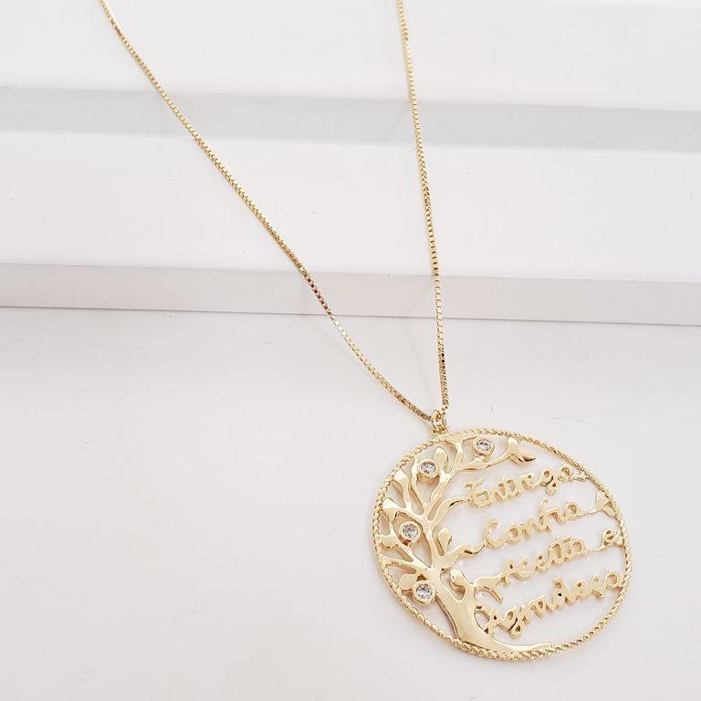 Corrente Veneziana com Medalha com Àrvore Zircônia e Escrita Entrego Confio Aceita e Agradeça no Banho Ouro 18k Semijoia