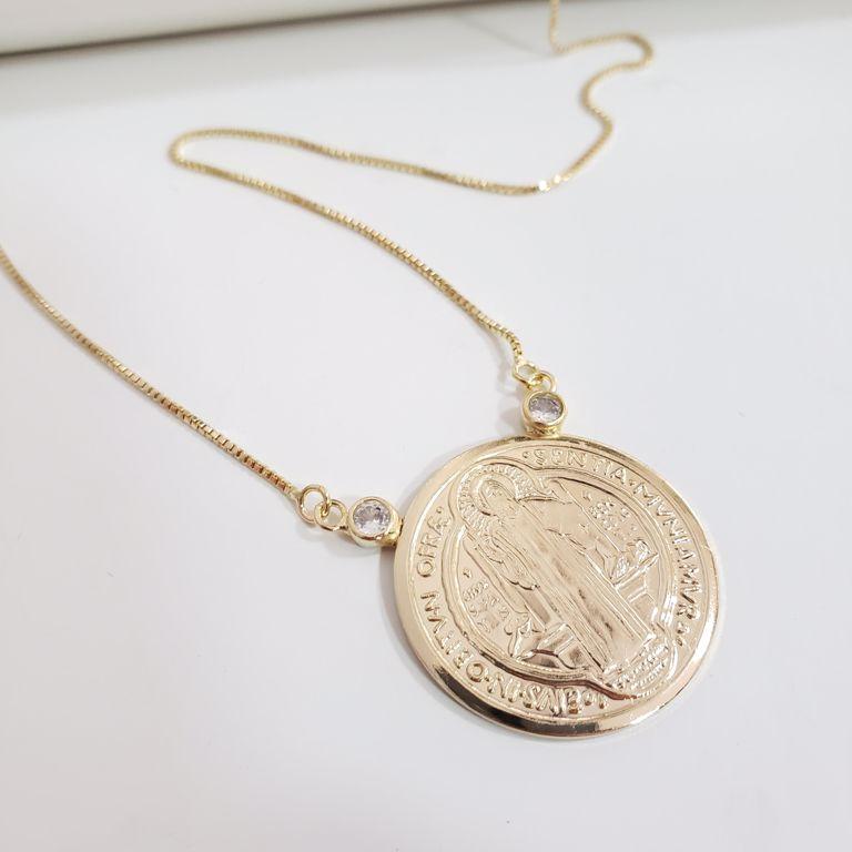 Corrente Veneziana com Medalha São Bento Banho Ouro 18k Semijoia