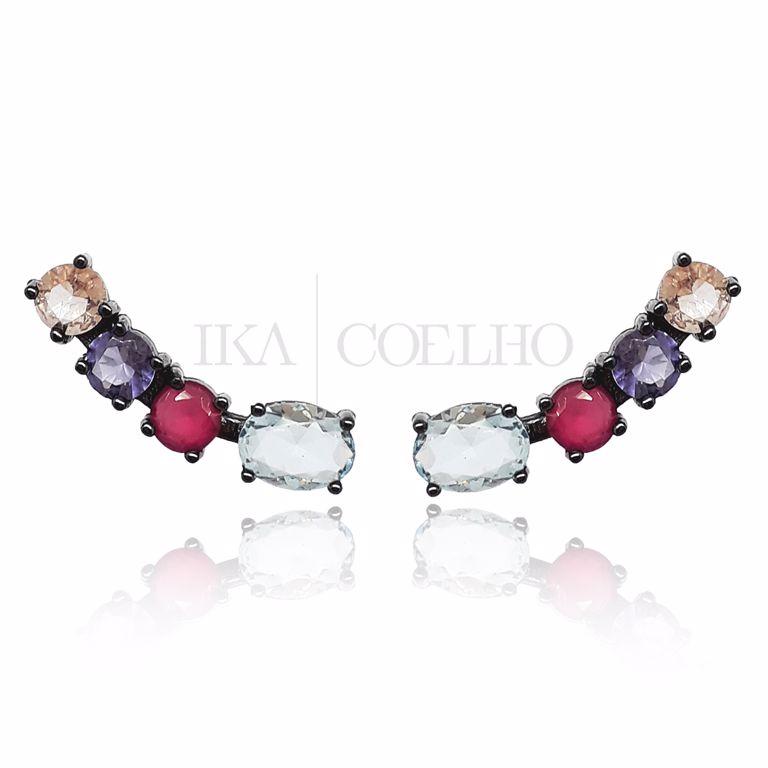 Ear Cuff Cristal Colorido no Banho de Ródio Negro Semi Joia da Moda