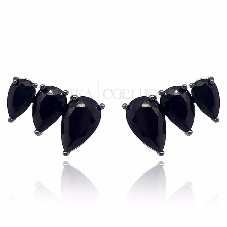 Ear Cuff Gotas Zirconia Preta Ródio Negro Semi Joia da Moda