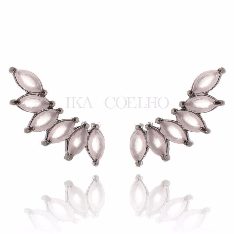 Ear Cuff Navetes Cristal Rosa Fosco no Banho Ródio Negro Semi Joia da Moda