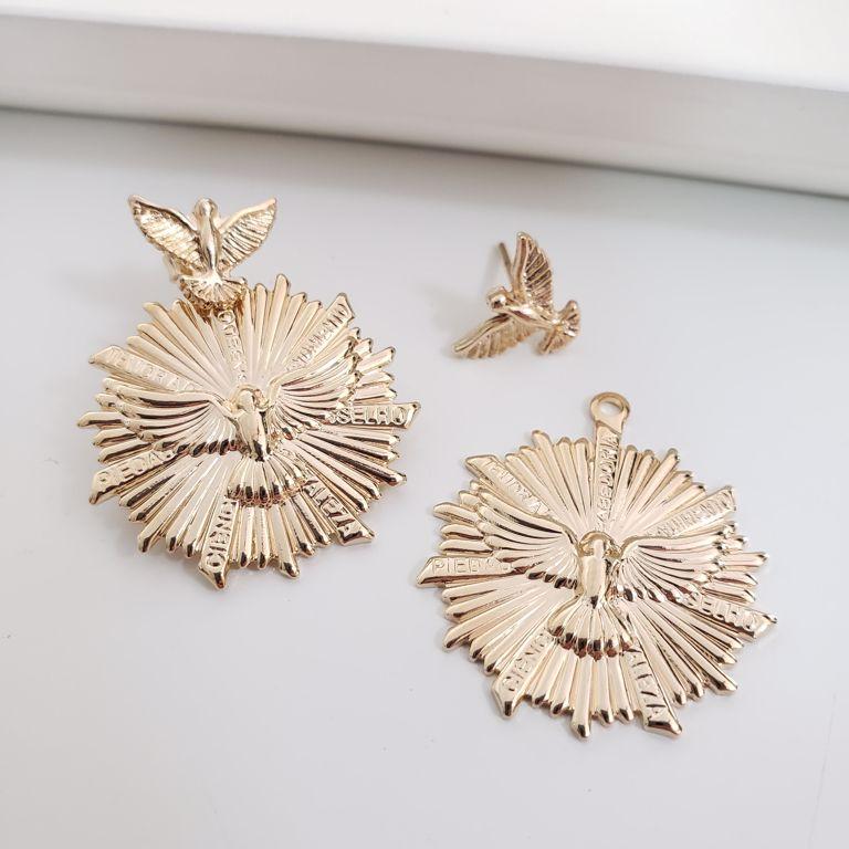 Ear Jacket Divino com Medalha Banho Ouro 18k Semijoia