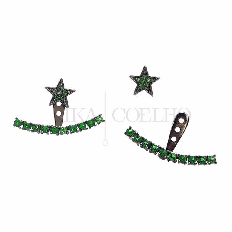 Ear Jacket Estrela Zircônia Verde Esmeralda Cravejada no Banho de Ródio Negro Semi Joia