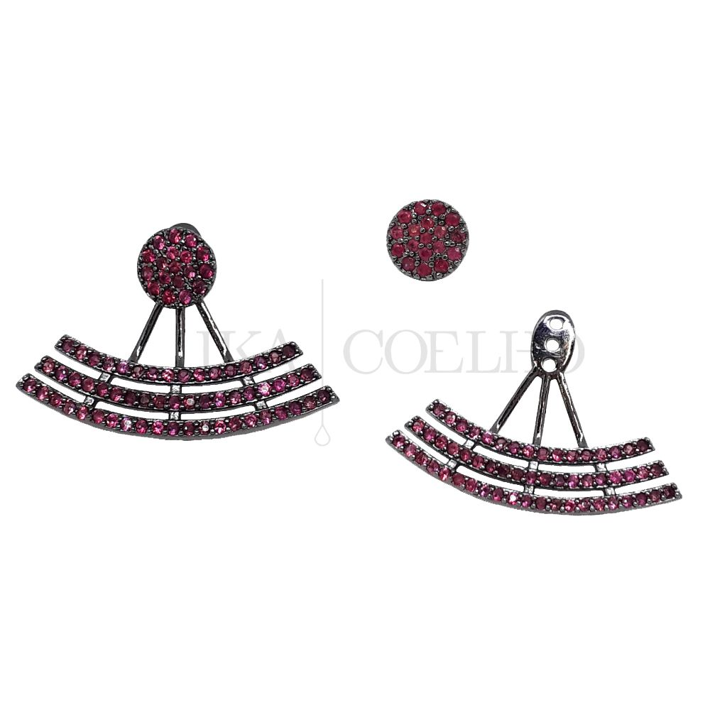 EAR JACKET RODIO NEGRO ZIRCONIA RUBI