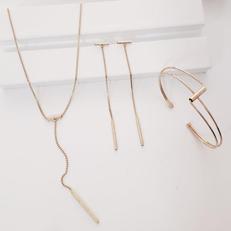 Gravatinha Escovada com Brinco Veneziana e Bracelete no Banho Ouro 18k Semijoia