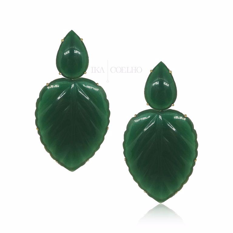 Maxi Brinco 2 em 1 Folha Baquelite Verde Semijoia