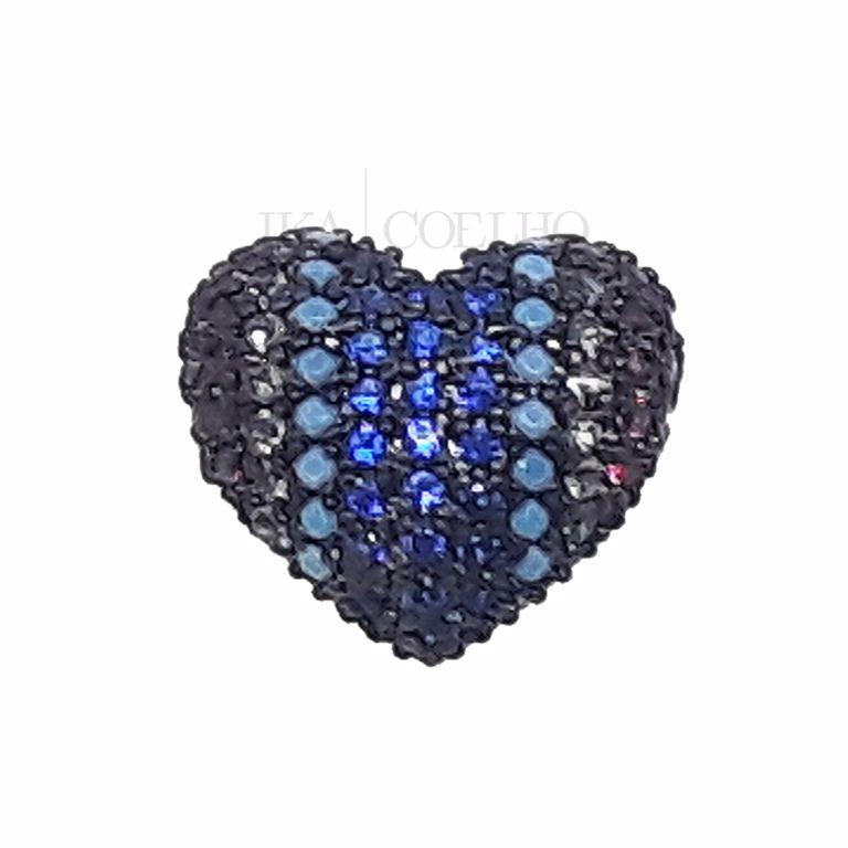 Piercing Fake Coração Zircônias Coloridas Banho de Ródio Negro Semijoia