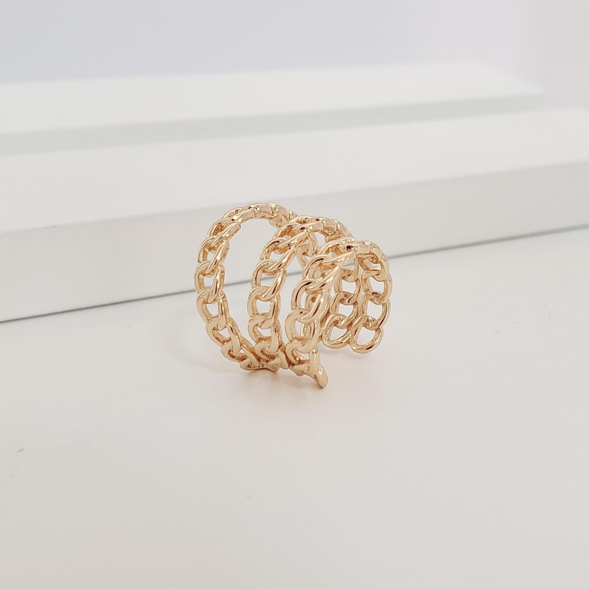 Piercing Filetes Espaçados Elo Cartier no Banho Ouro 18k Semijoia
