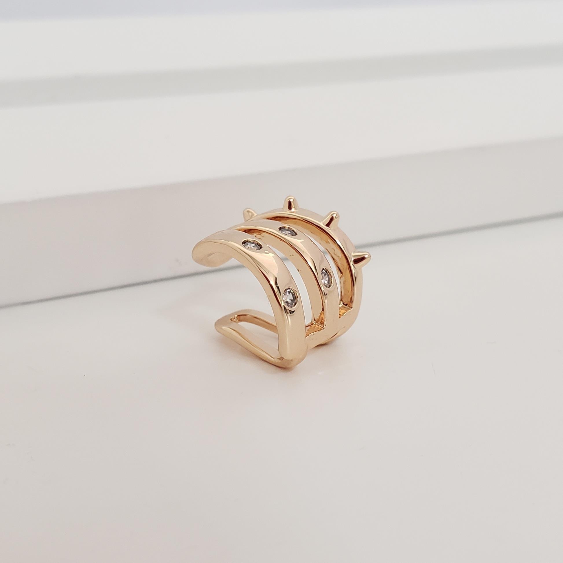 Piercing Filetes Espaçados Zircônia e Spike no Banho Ouro 18k Semijoia