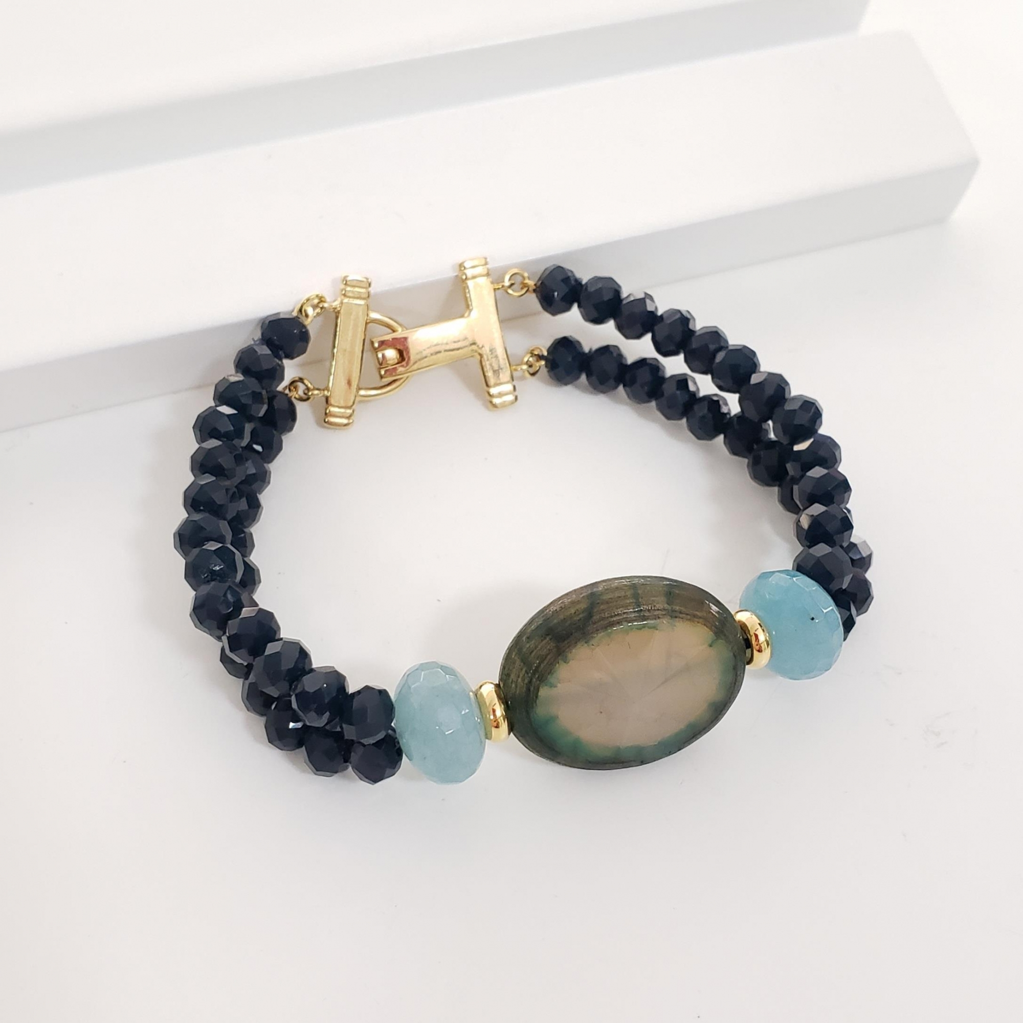 Pulseira Azul Safira com Angelita e Agata Teal no Banho Ouro 18k Semijoia