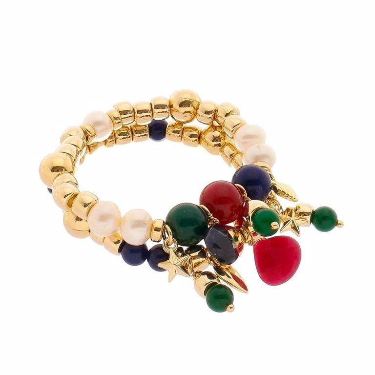 Pulseira Bolas Douradas e Pedras Jade Safira Rubi Esmeralda Banho de Ouro 18k Semijoia