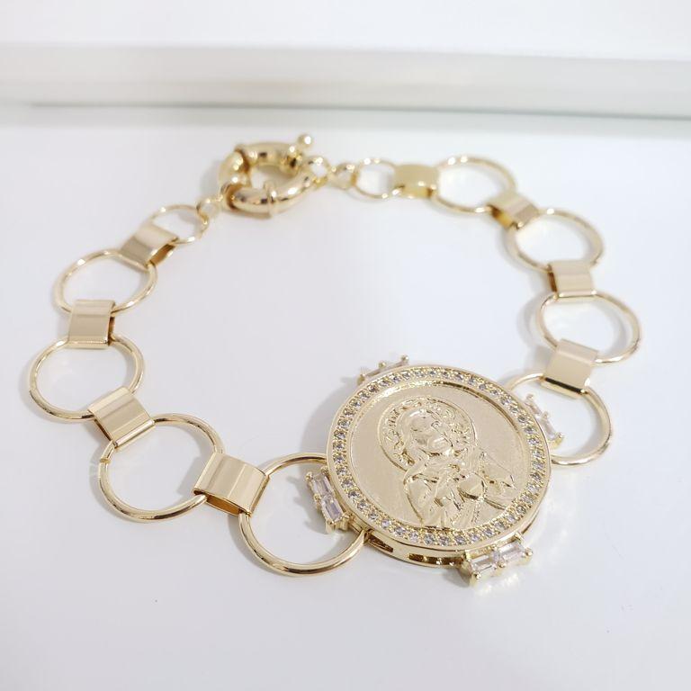 Pulseira Elo Cartier com Medalha Coração de Jesus com Zircônia Banho Ouro 18k Semijoia