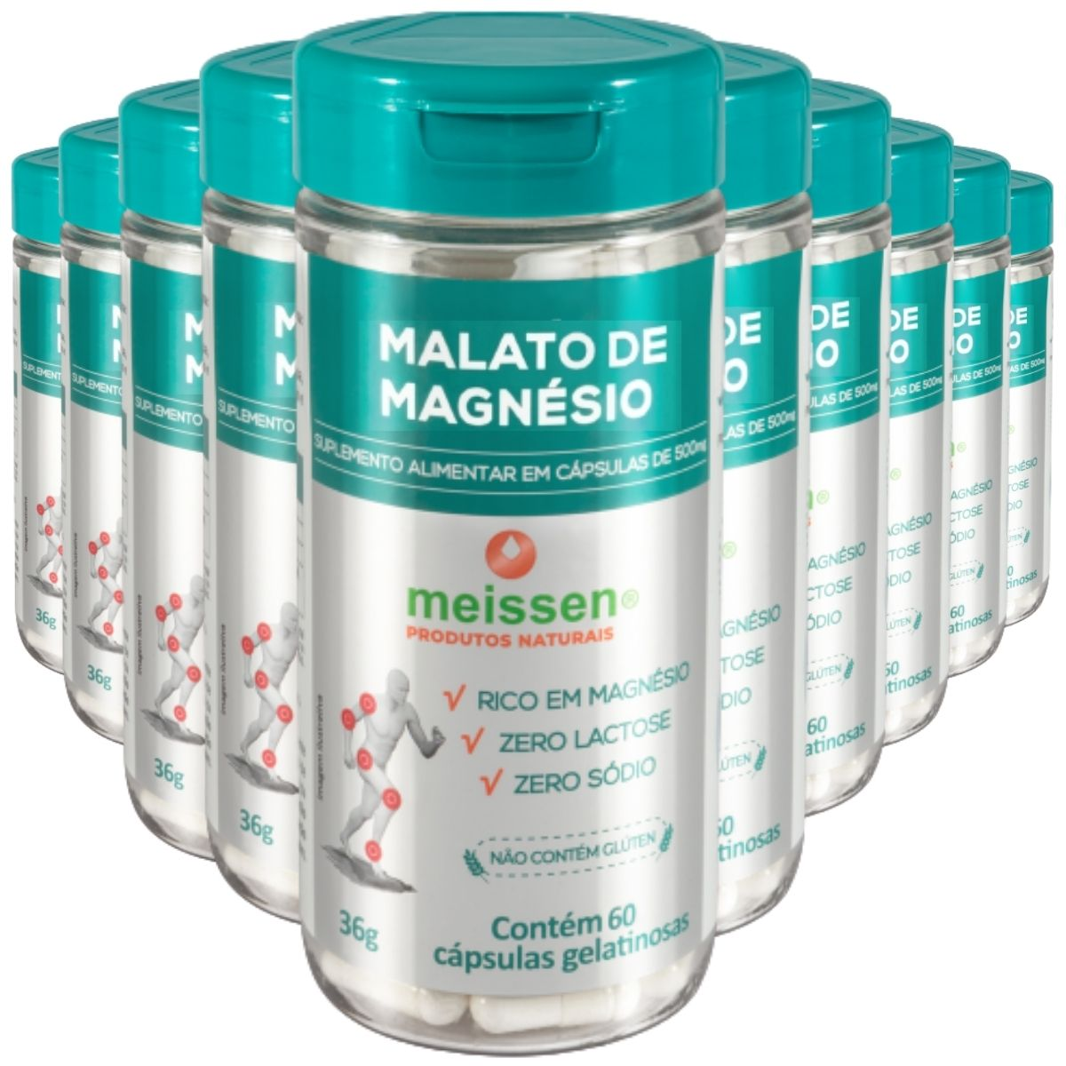10x Malato de Magnésio (Magnésio Dimalato) 600 Cápsulas Total- Meissen