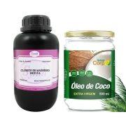 Óleo de Côco Extra Virgem Prensado a Frio 500 - Naturecorp  + Cloreto De Magnésio Pa 1 Kg - Synth