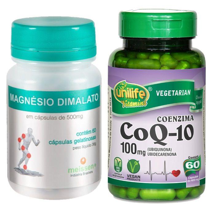 1 Coenzima Q10 100 Mg 60 Cápsulas + 1 Magnésio Dimalato Puro 60 Cápsulas Gelatina Meissen