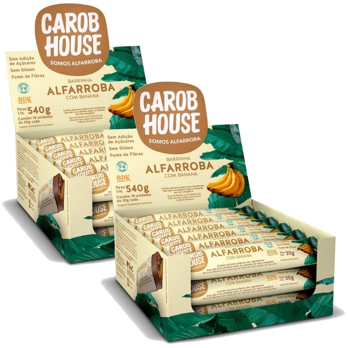 2 Caixas Alfarroba Com Banana 30g Caixa C/ 18 Barrinhas - Carob House
