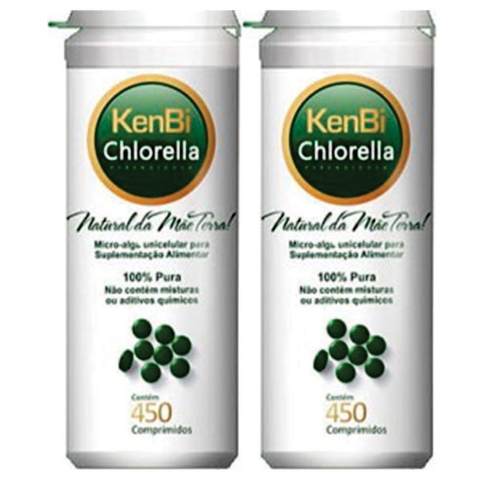 2x Chlorella Kenbi 450 Comprimidos 100% Chlorella -  Super Alimento