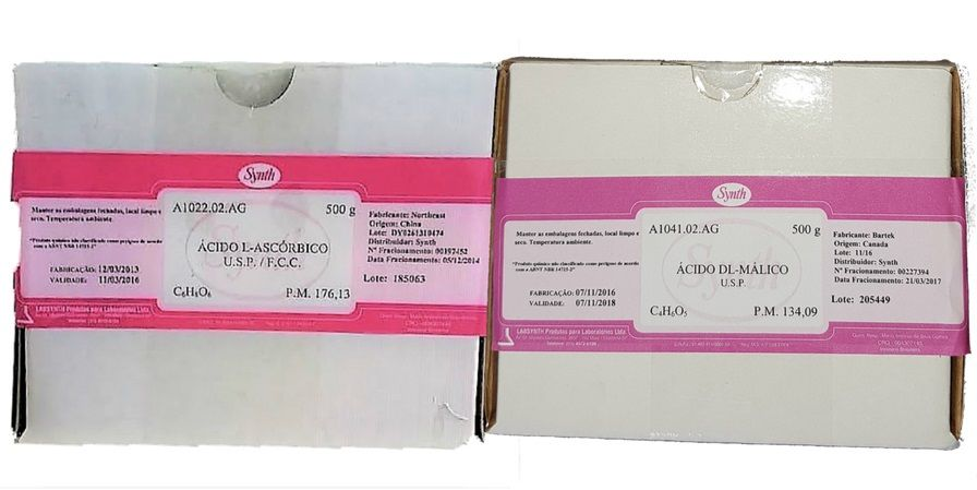 3 Acido Ascorbico Usp 500g + 1 Acido Malico Usp Synth 500g - Synth