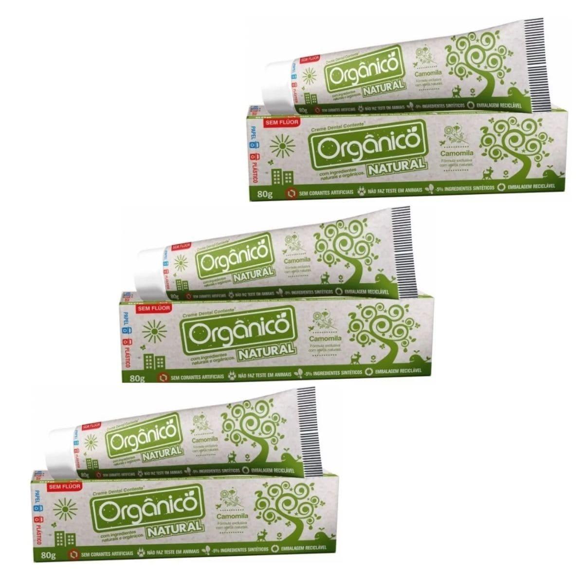 3 Creme Dental Orgânico Natural Sem Fluor Vegano 80g  Suavetex