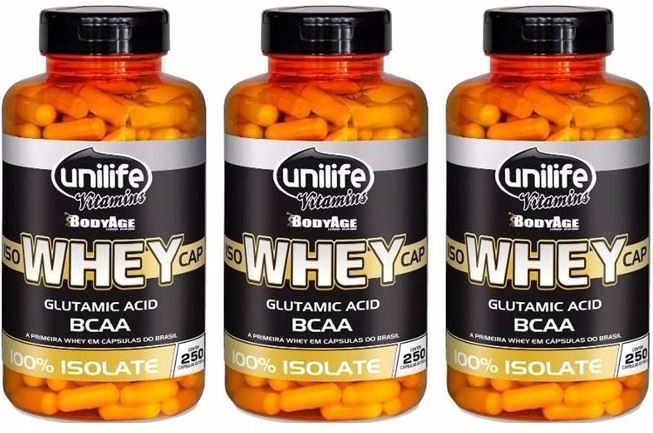 3 Iso Whey Protein 100% Isolado - 250 Cápsulas 550mg - Unilife