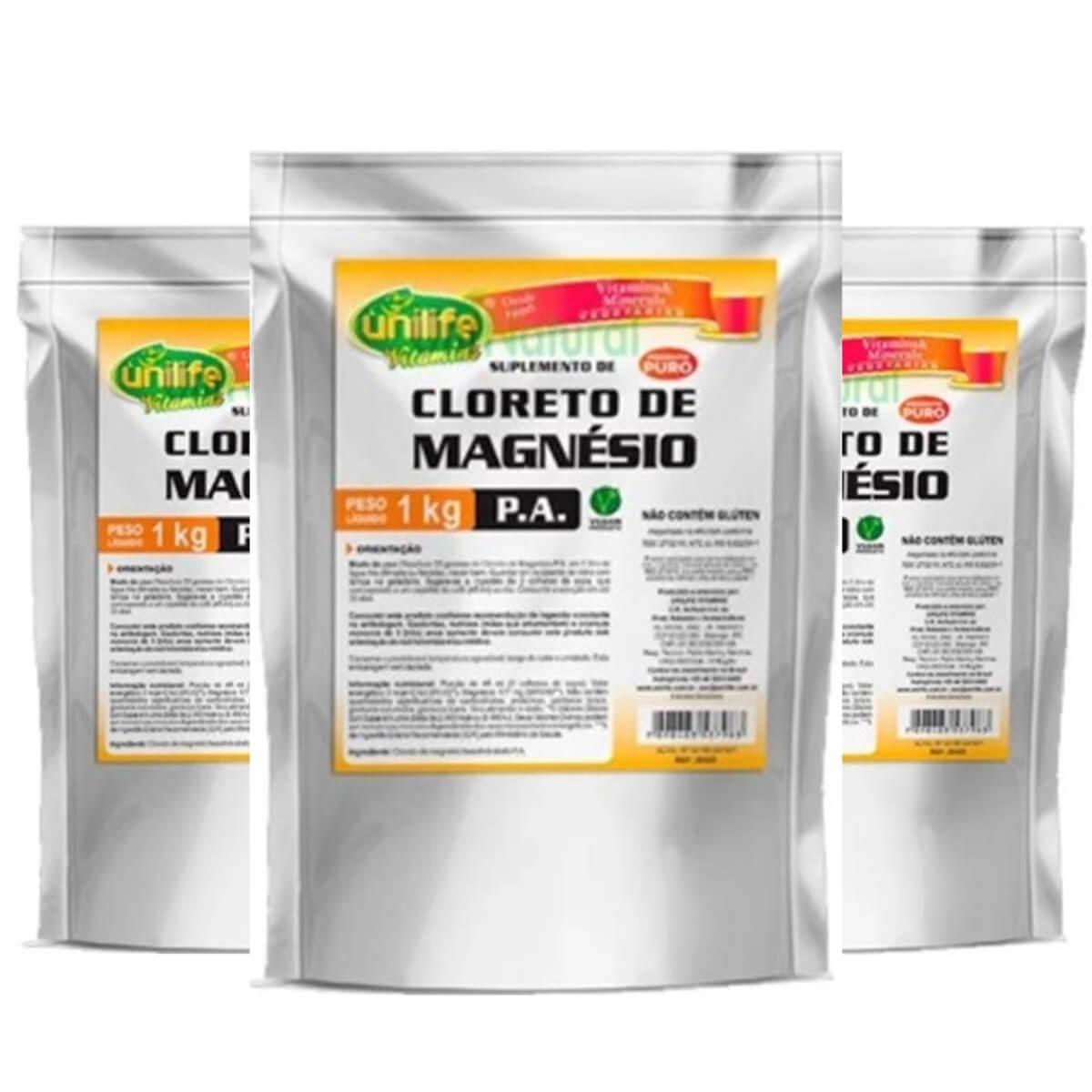 1ffbe3850 3x Cloreto De Magnésio Pa Puro 1Kg Unilife