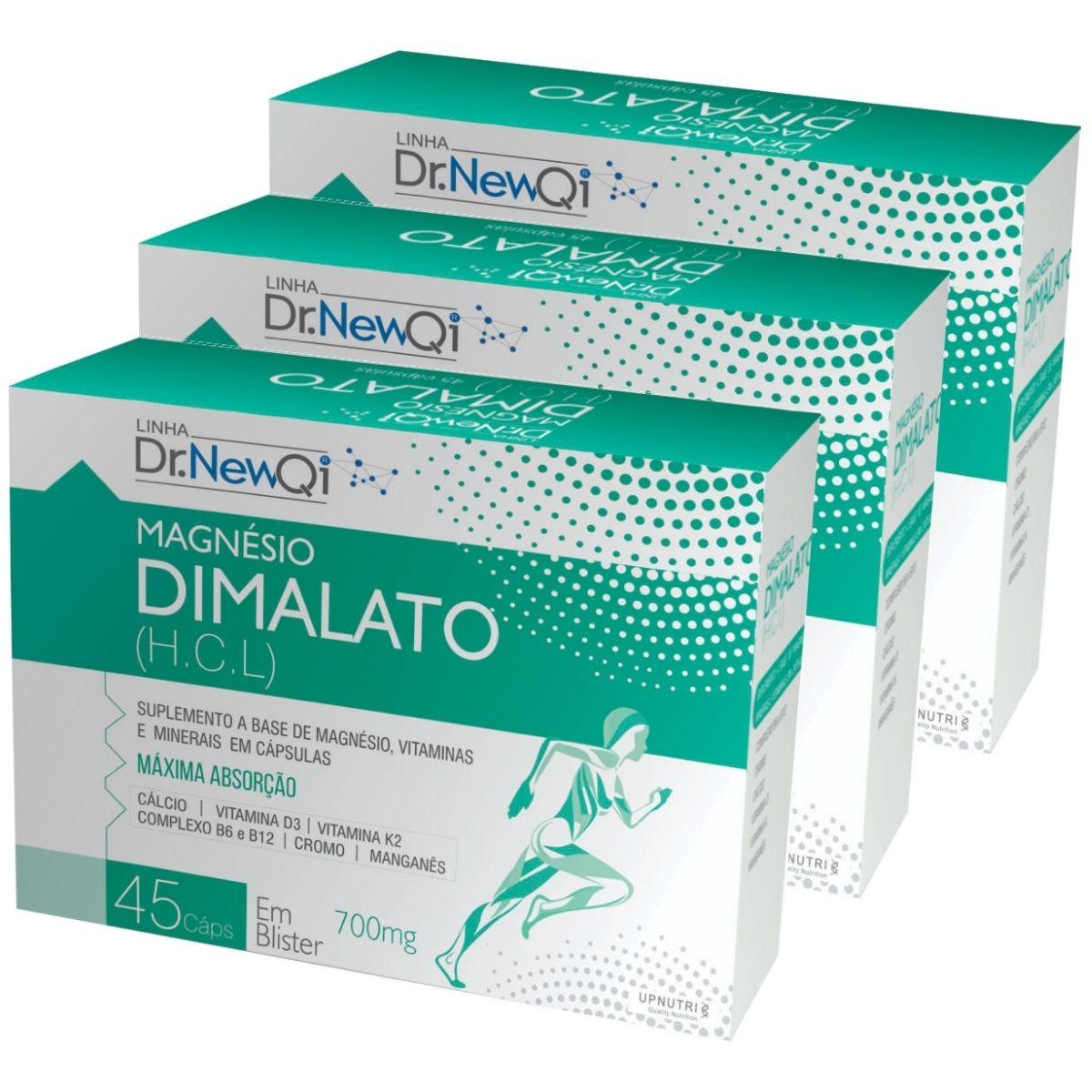 3x Magnésio Dimalato HCL 45 Cápsulas 700mg Dr. New Qi - Upnutri