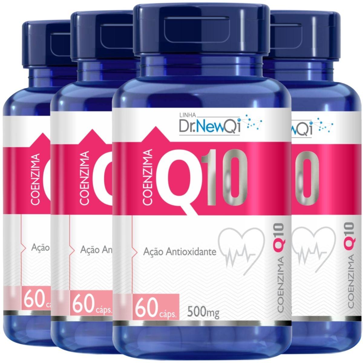 4x Coenzima Q10 Ubiquinona + Vitamina C e Cólageno Hidrolisado 60 Cáps Dr. New Qi - Upnutri