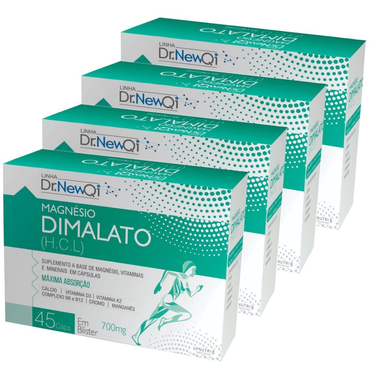 4x Magnésio Dimalato HCL 45 Cápsulas 700mg Dr. New Qi - Upnutri