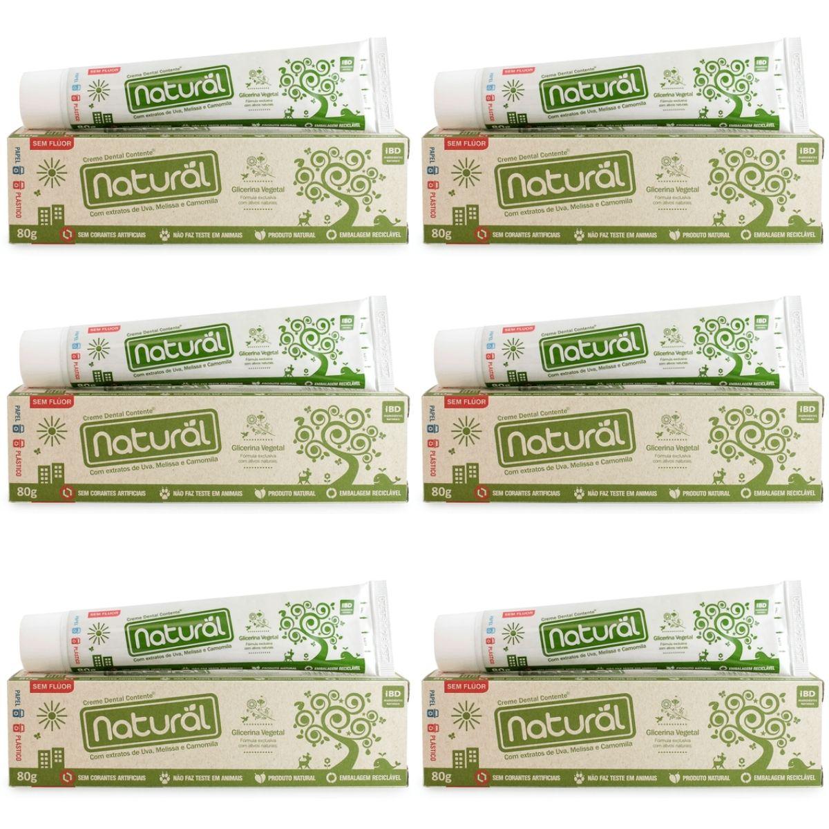 6x Creme Dental Orgânico Natural Vegano Sem Fluor 80g  Suavetex