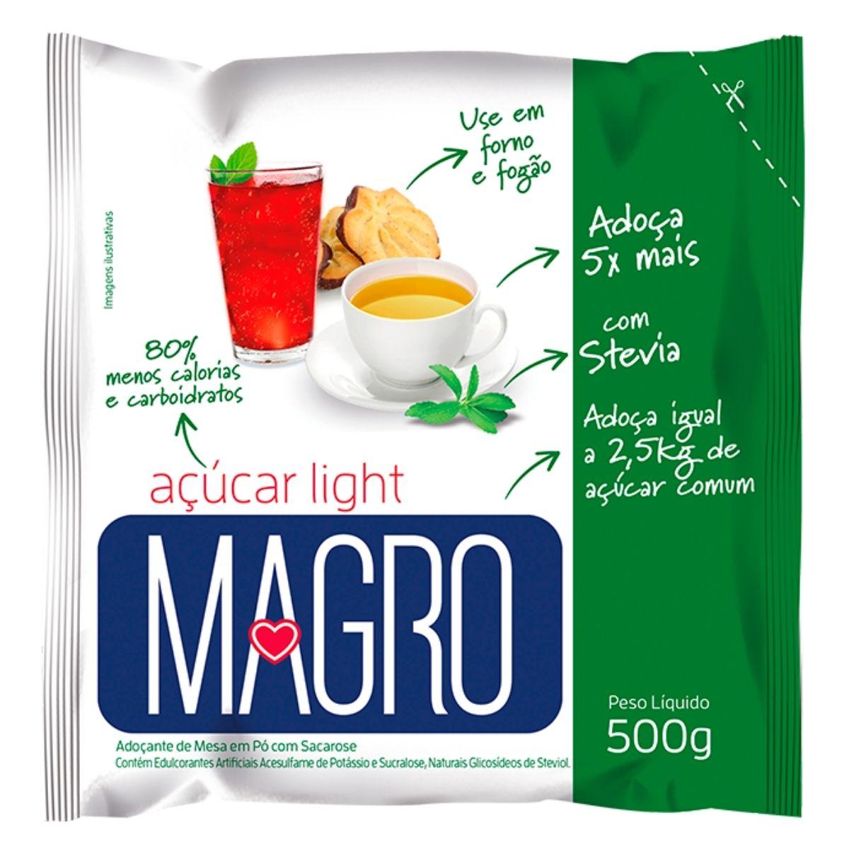 Açúcar Light Magro com Stevia 500g - Forno e Fogão