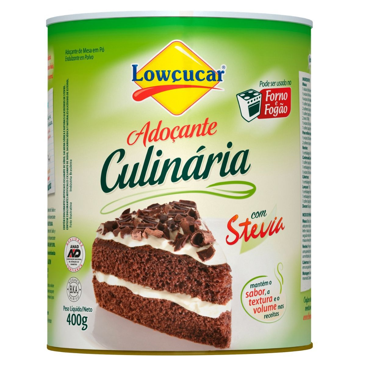 Adoçante Culinária C/ Stevia 400g - Lowçucar Plus