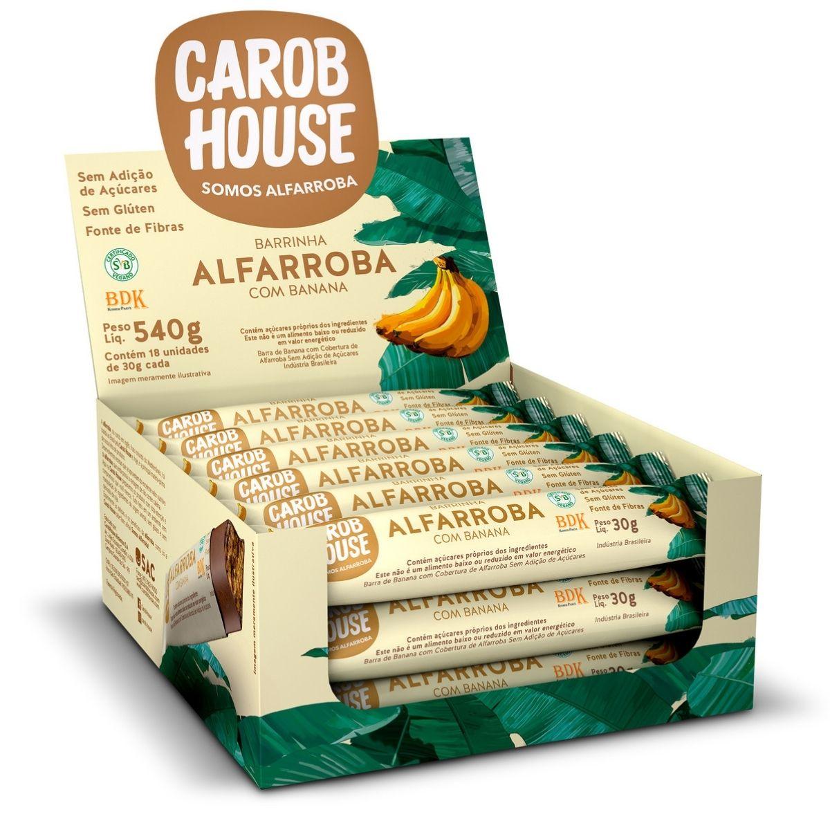 Barrinhas Alfarroba Com Banana 30g Caixa C/ 18 Und - Carob House