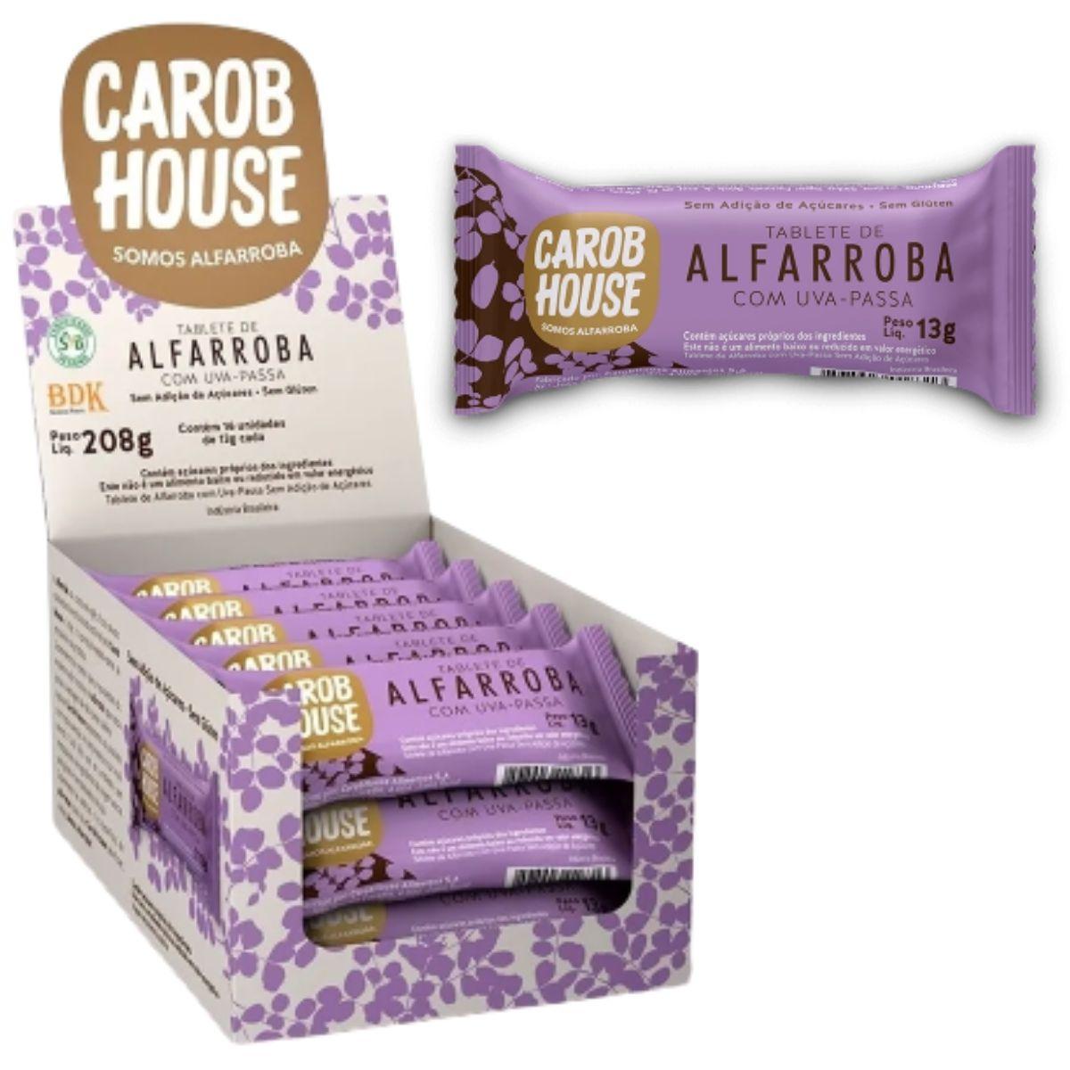 Alfarroba Com Uva Passa 13g Caixa C/ 16 Tabletes - Carob House