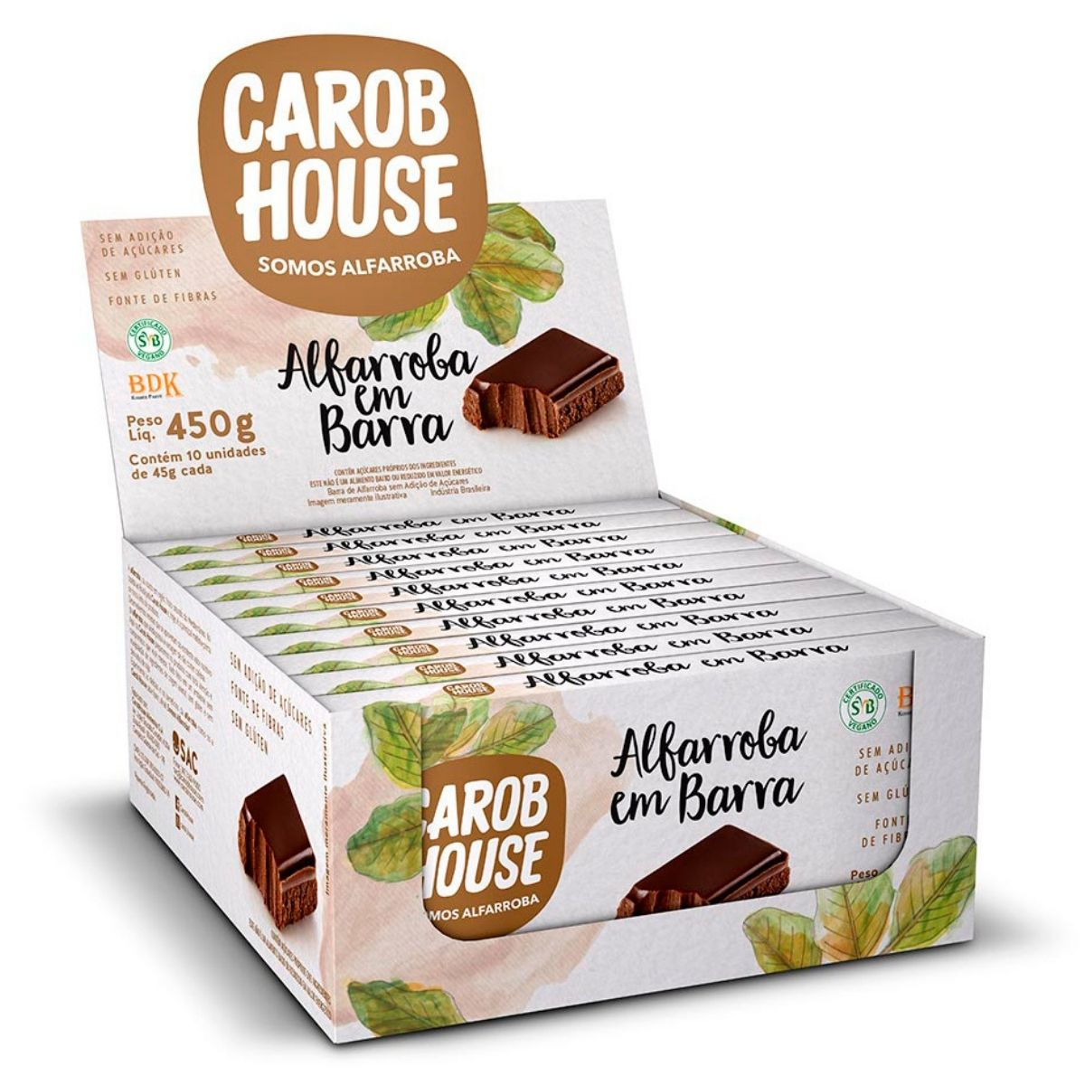Alfarroba Em Barra 45g Caixa C/ 10 Barras - Carob House