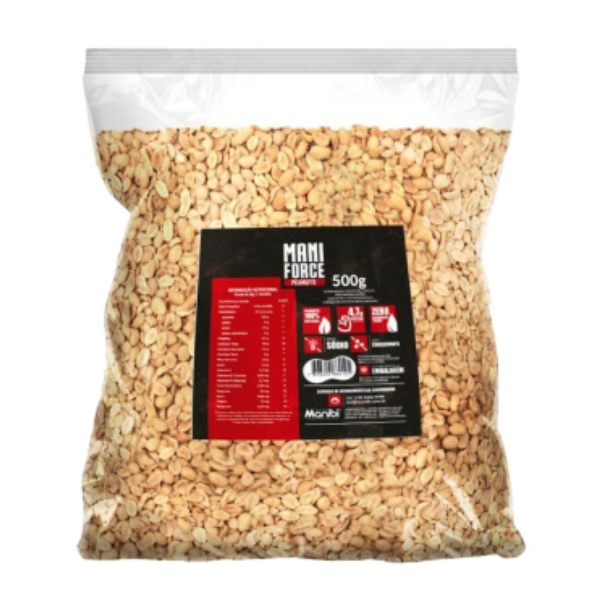 Amendoim Torrado 100% Natural Peanuts Sem Sal Mani Force 500g - Manibi