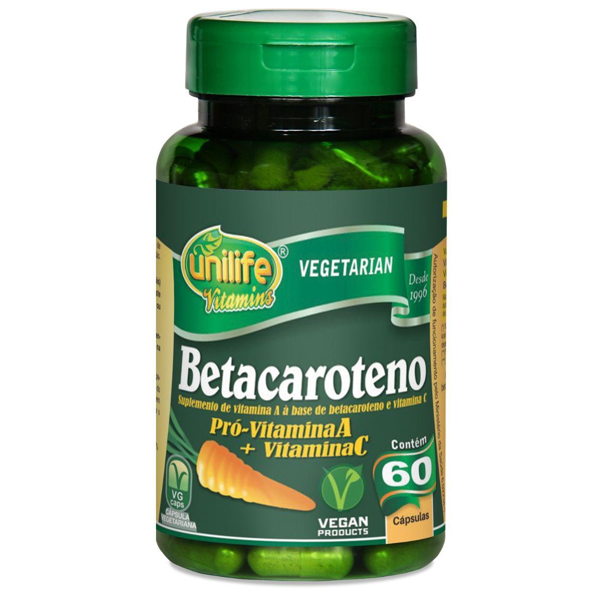 Betacaroteno Unilife - 500 Mg 60 Cápsulas