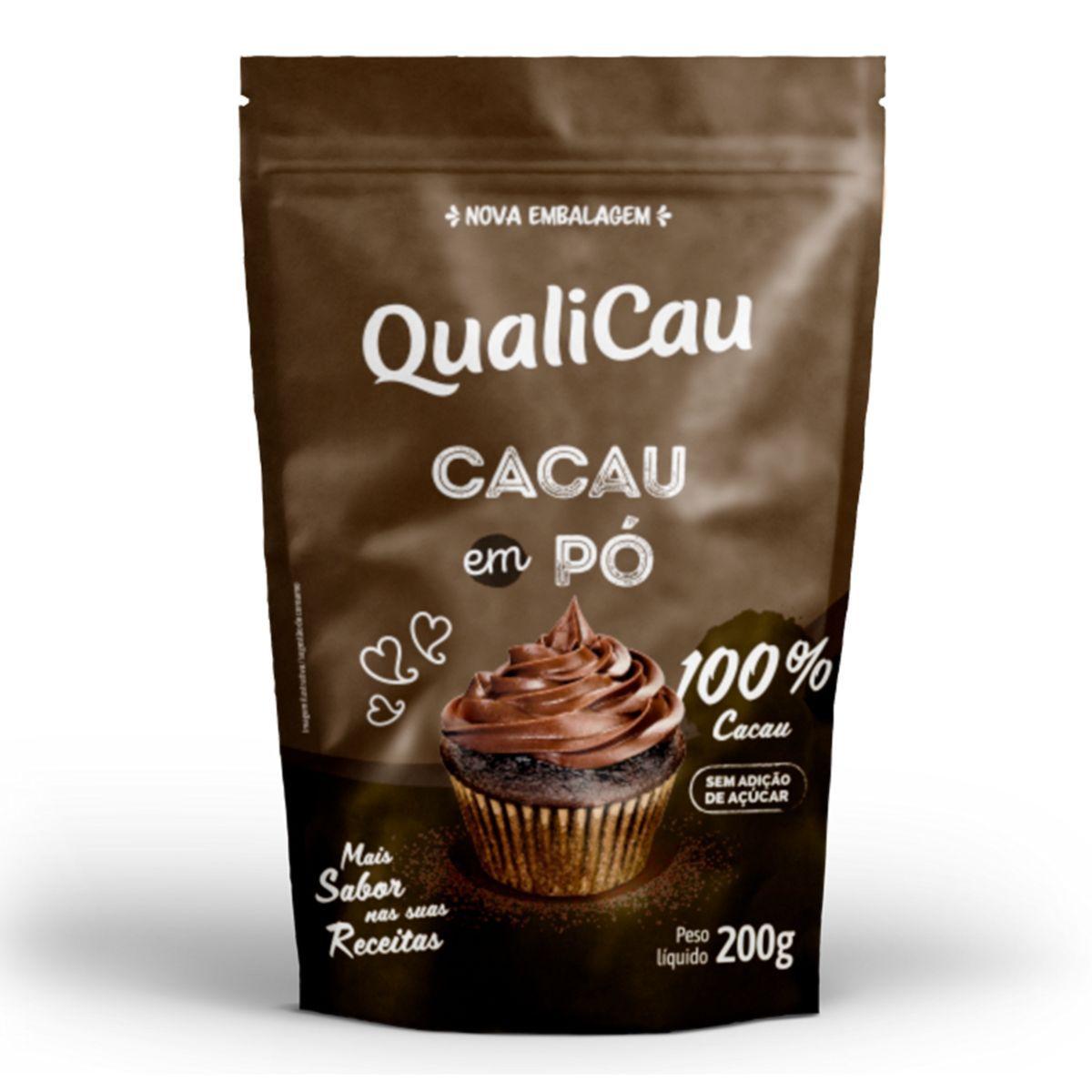 Cacau Em Pó 100% Cacau Zero Açúcar 200g - QualiCôco