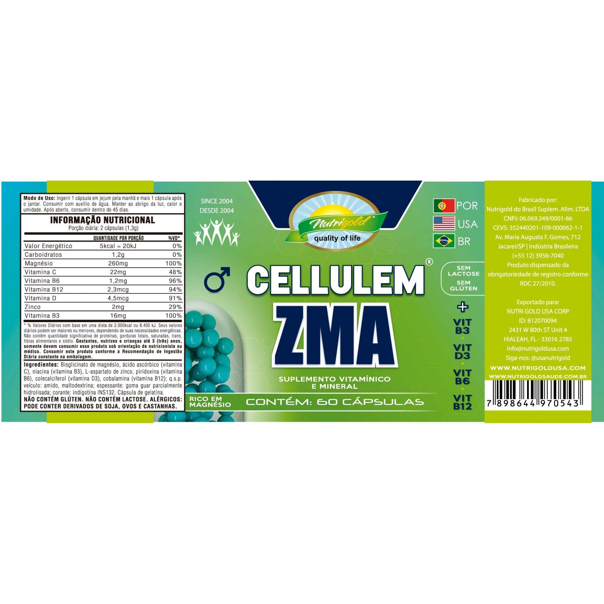 Cellulem ZMA Masculino (Azul) - Pote Com 60 Cápsulas 650mg