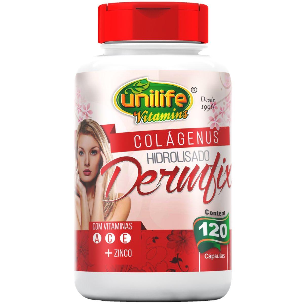 Colageno Hidrolisado Dermfix C/ Vitaminas 120 Cápsulas 450mg - Unilife