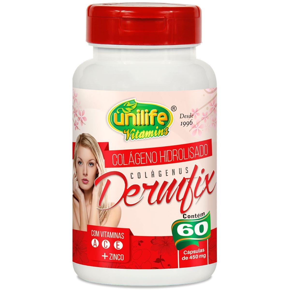 Colageno Hidrolisado Dermfix C/ Vitaminas 60 Cápsulas 450mg - Unilife